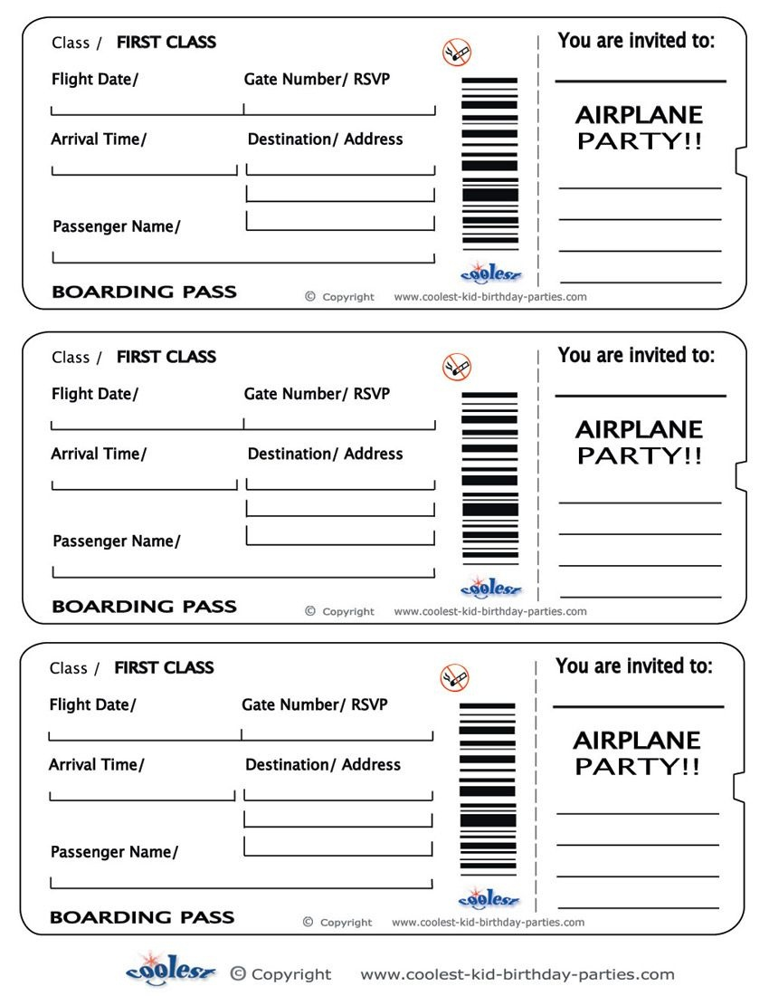 Printable Airplane Boarding Pass Invitations - Coolest Free - Free Printable Boarding Pass