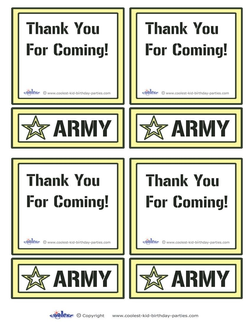 Printable Army Star Thank You Cards Coolest Free Printables | Boys - Military Thank You Cards Free Printable
