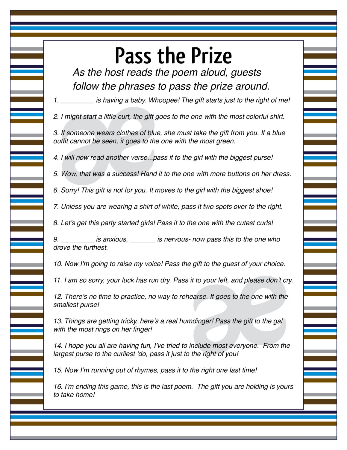 Printable Baby Boy Shower Activity: Pass The Prize Instant | Etsy - Pass The Prize Baby Shower Game Free Printable