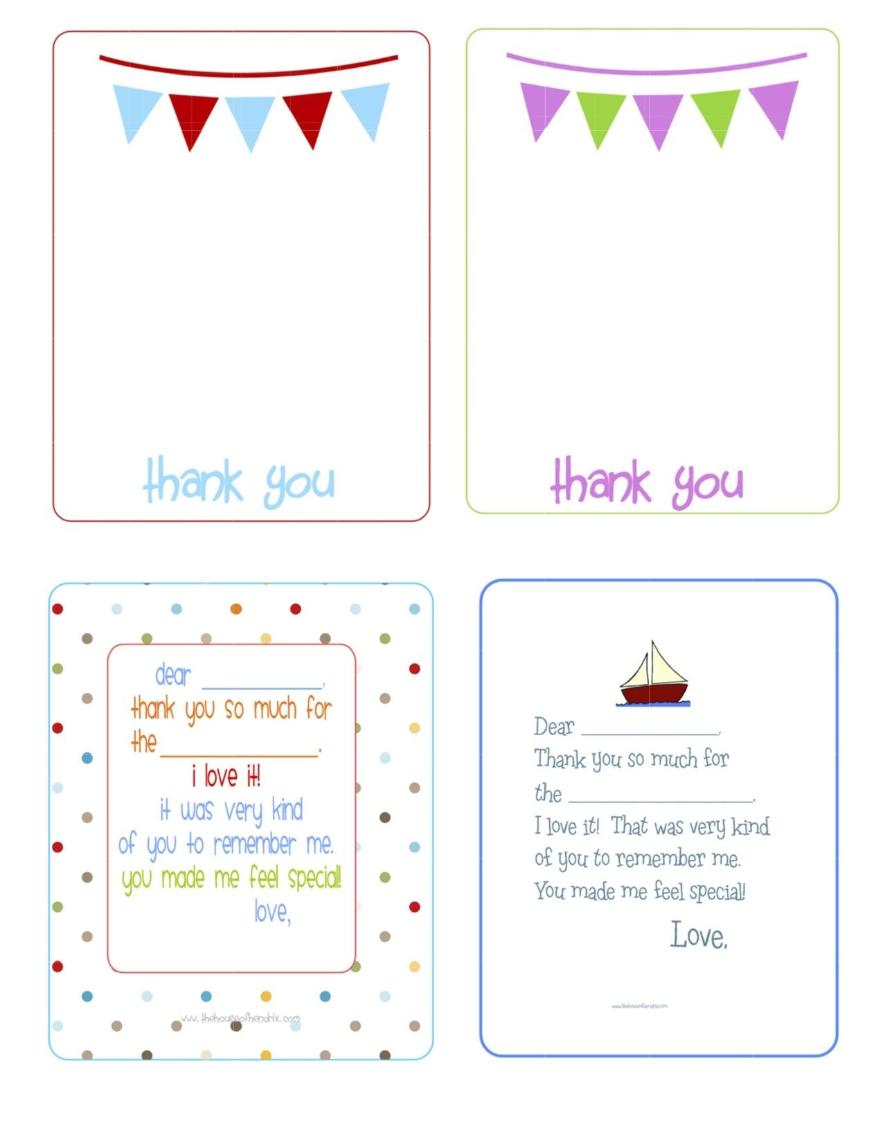 Printable Birthday Thank You Cards - | Printables & Fonts - Free Printable Volunteer Thank You Cards
