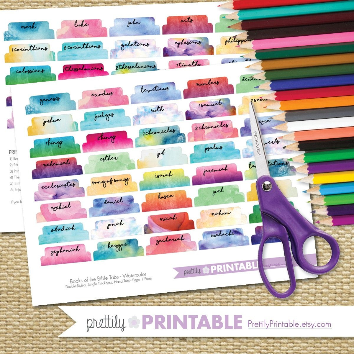 Printable Books Of The Bible Tabs - Watercolor (For Hand Trimming - Free Printable Books Of The Bible Tabs