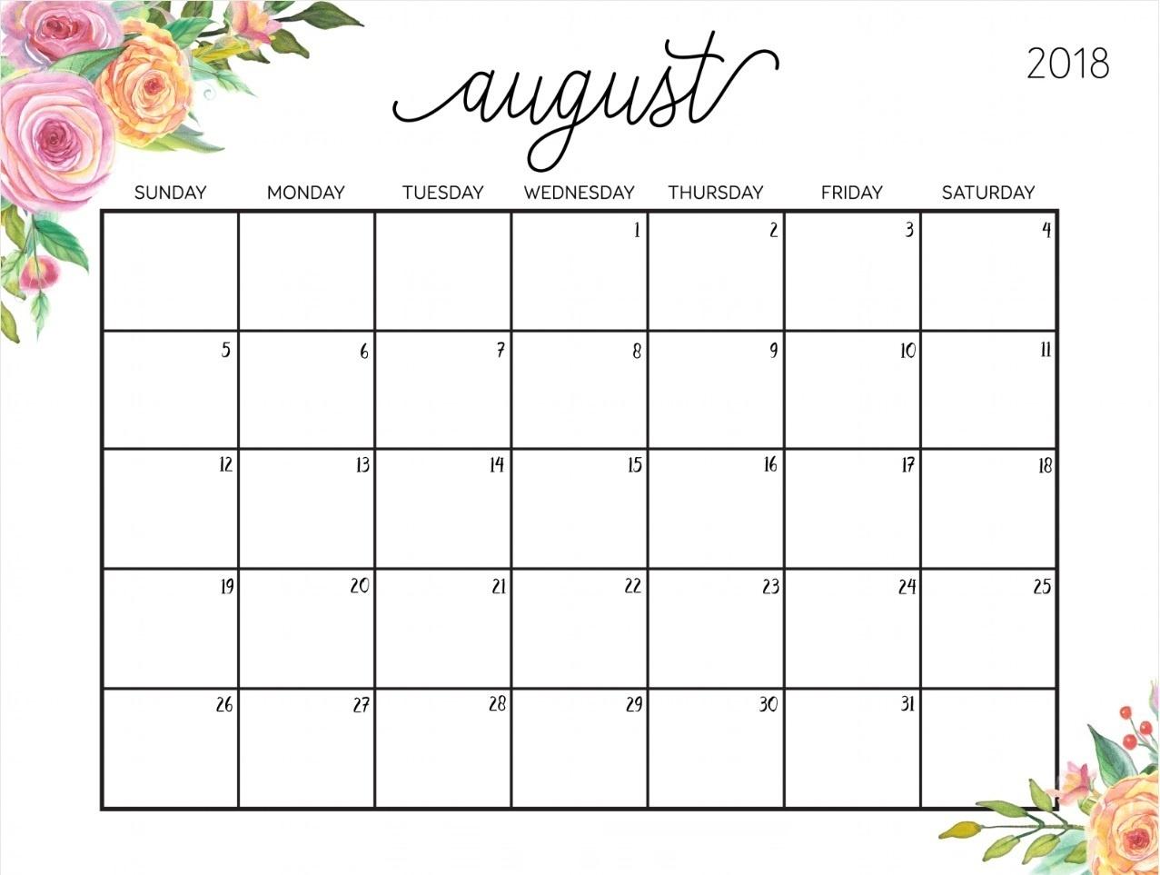 Printable Calendar For August 2018 - Free Printable Calendar, Blank - Free Printable Clipart For August