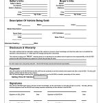 Printable Car Bill Of Sale Pdf | Bill Of Sale For Motor Vehicle   Free Printable Blank Auto Bill Of Sale