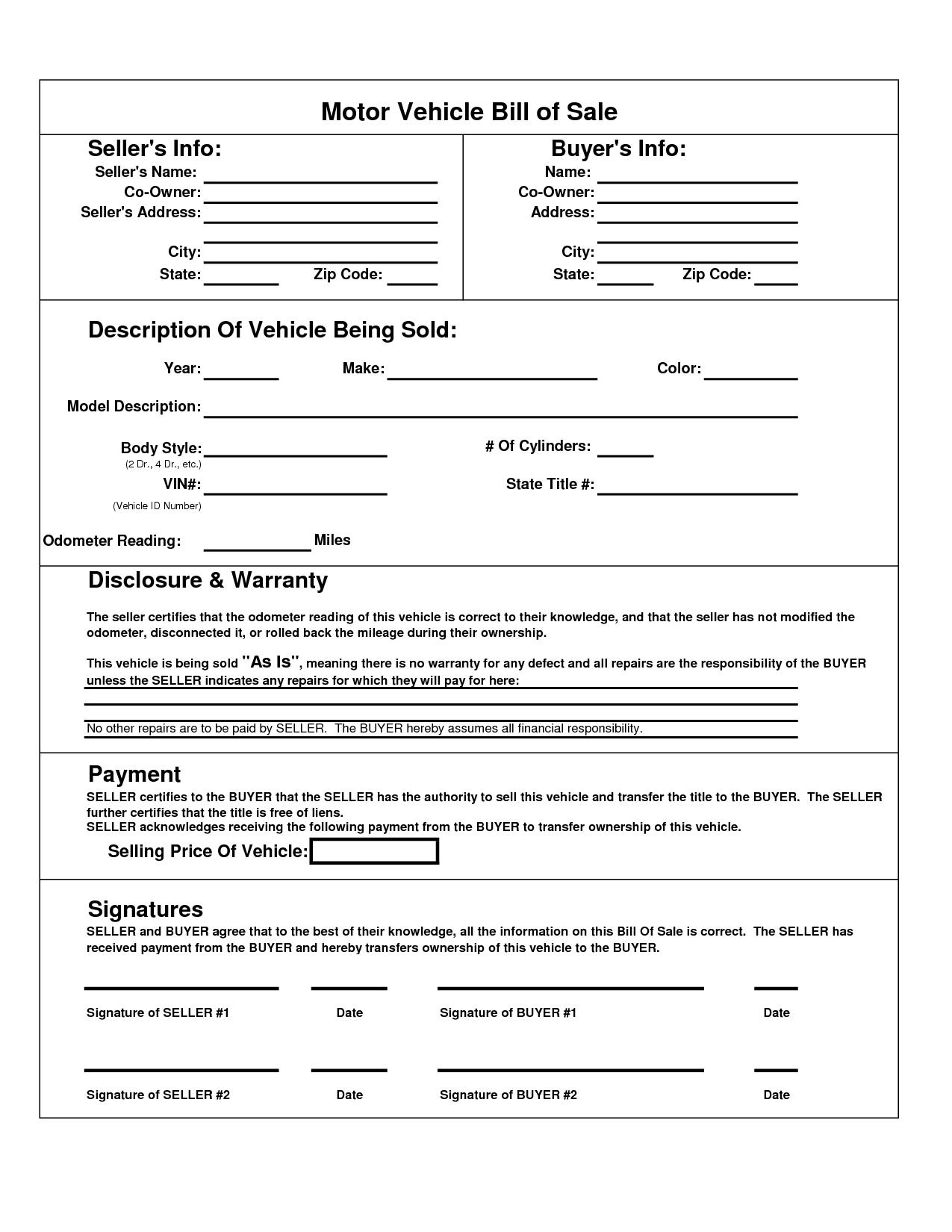 Printable Car Bill Of Sale Pdf | Bill Of Sale For Motor Vehicle - Free Printable Texas Bill Of Sale Form