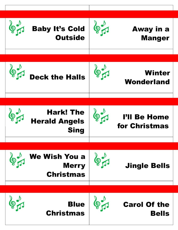 Printable Christmas Carol Game Cards For Pictionary Or - Free Printable Christmas Pictionary Words