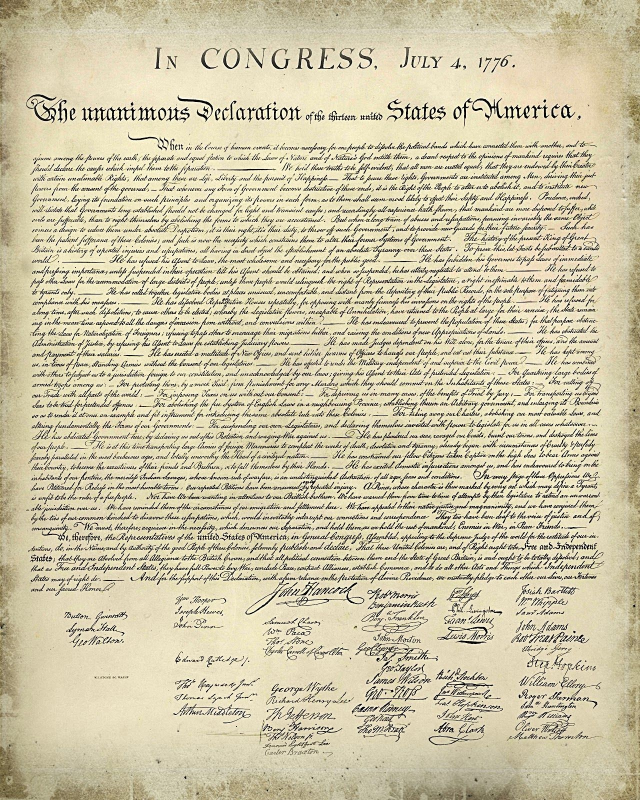 Printable Copy Declaration Independence |  And Simple: Free - Free Printable Copy Of The Declaration Of Independence