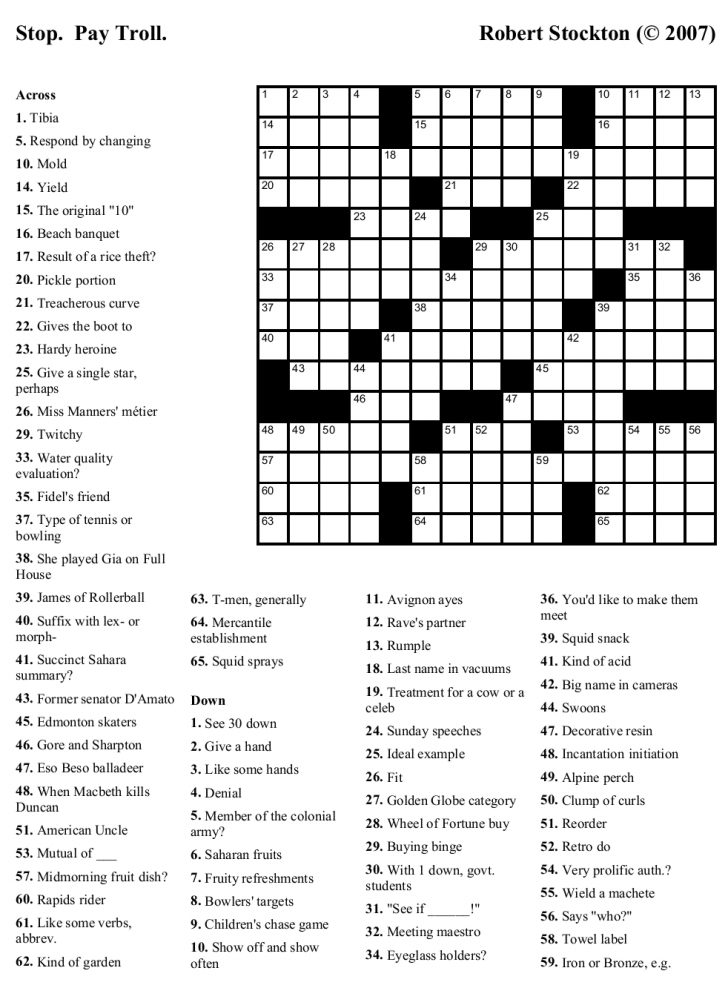 Free Daily Printable Crossword Puzzles