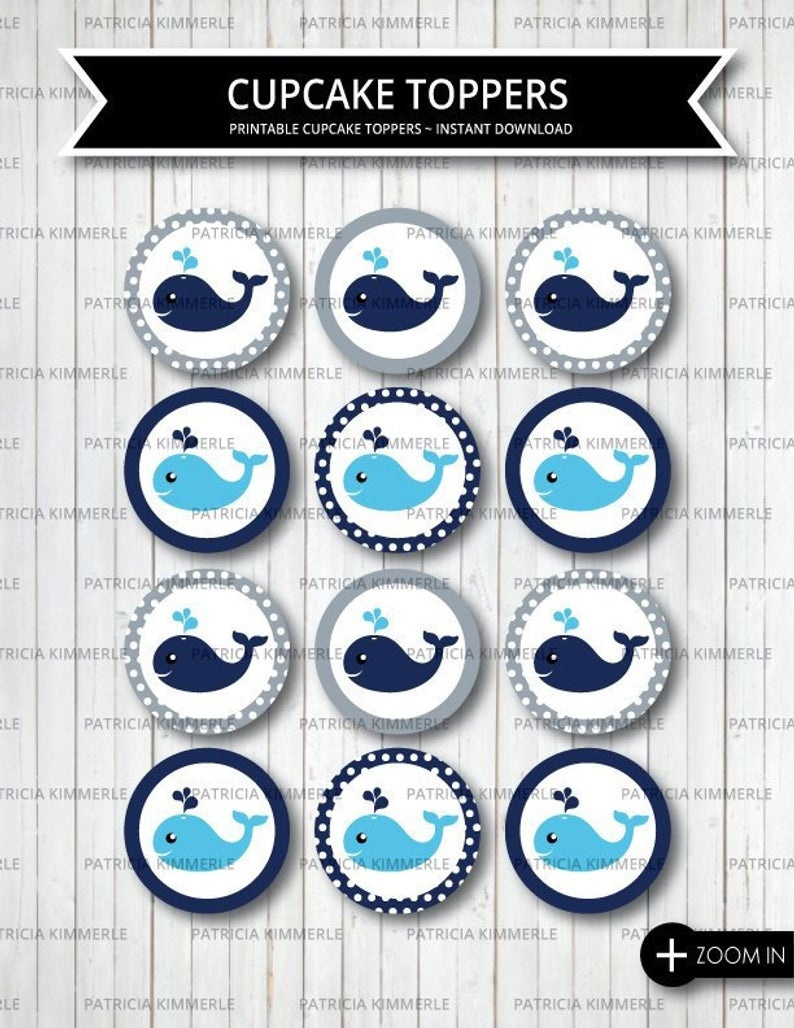 Printable Cupcake Toppers Whale Party Little Man First | Etsy - Free Printable Whale Cupcake Toppers