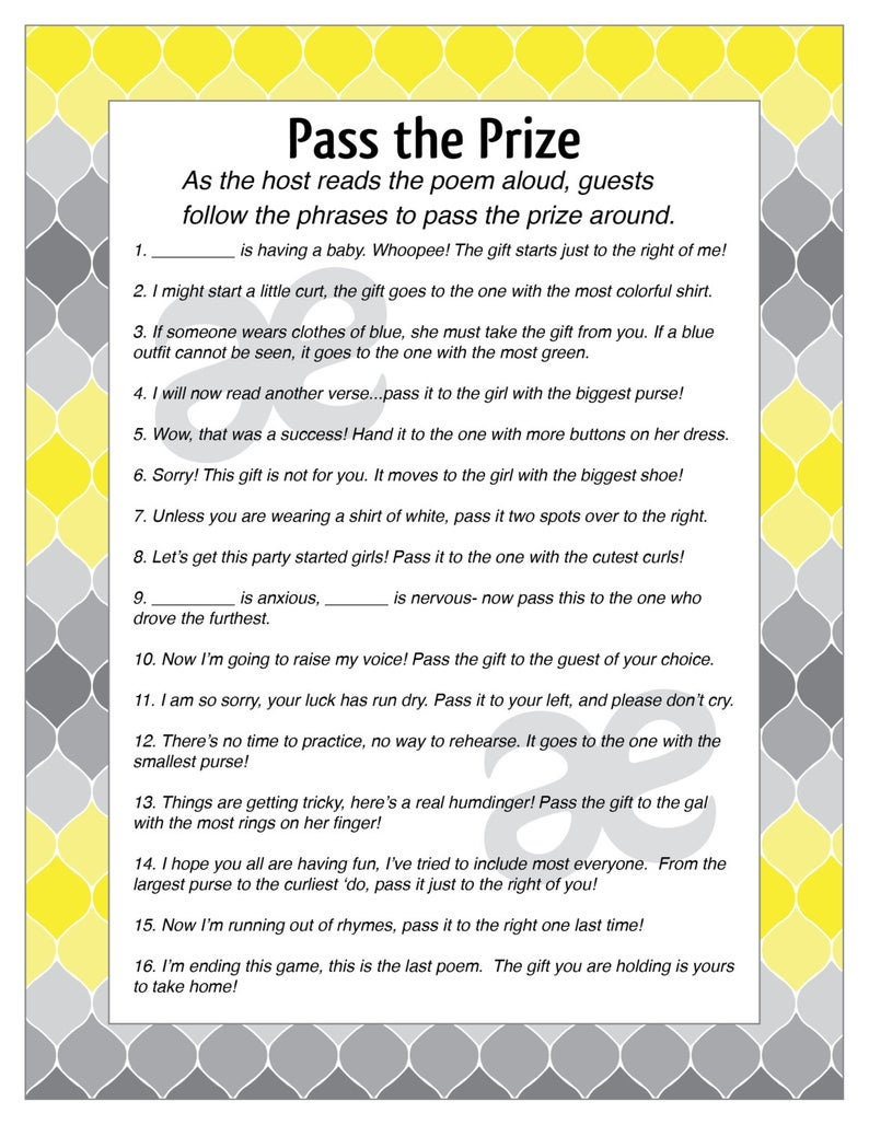 Printable Customizable Baby Shower Activity: Pass The Prize | Etsy - Pass The Prize Baby Shower Game Free Printable