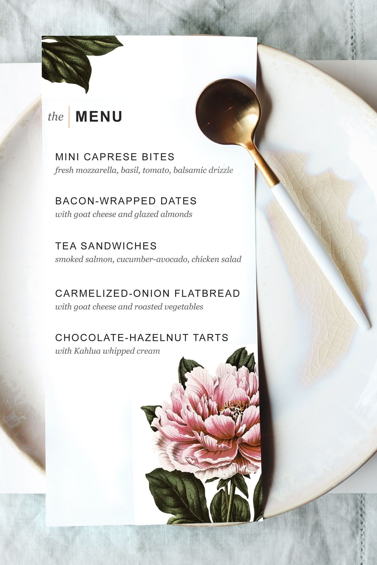 Printable Dinner Party Menu Template | Party Planning | Wedding Menu - Free Printable Dinner Party Menu Template