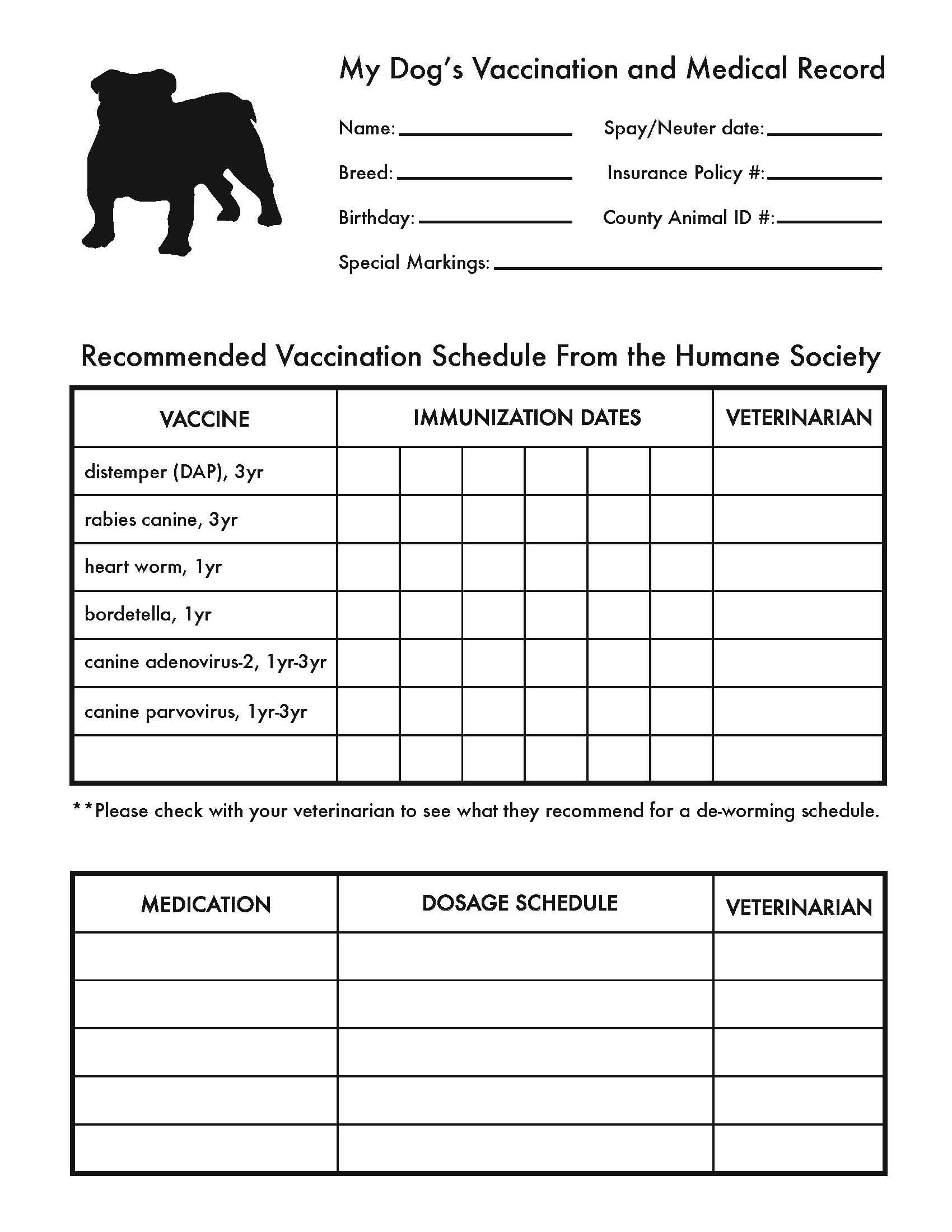 Printable Dog Shot Record Forms | Cute Pets | Dog Shots, Dogs, Dog - Free Printable Dog Shot Records