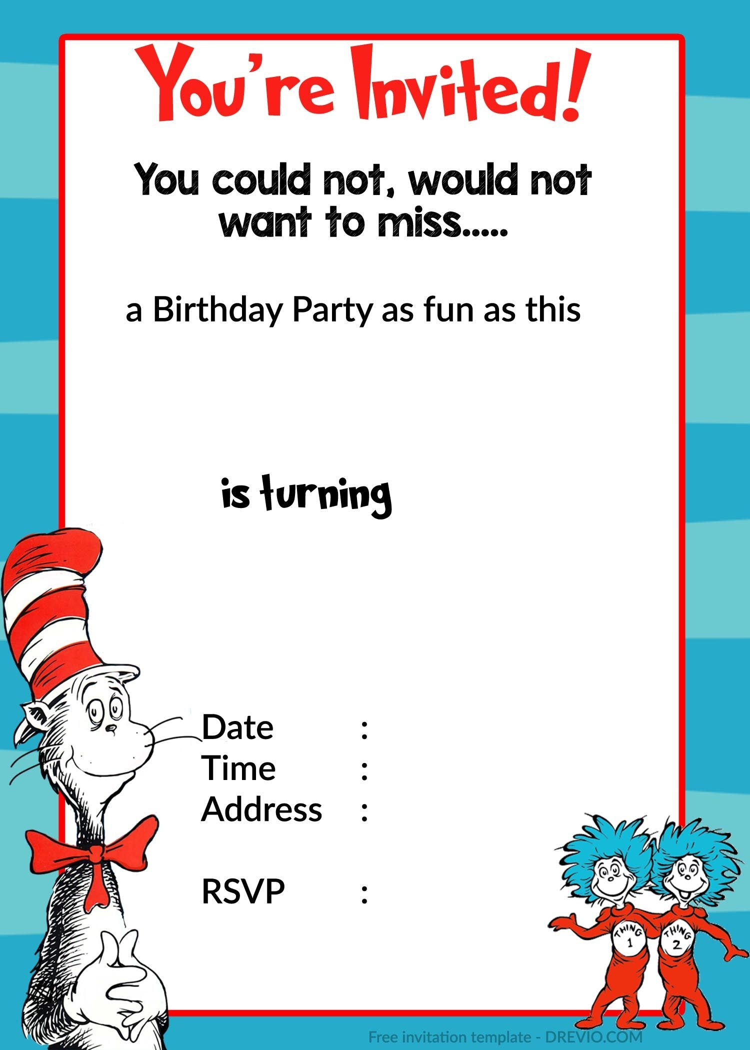Printable Dr. Seuss Birthday | Birthday Invitation For Kids - Dr Seuss Free Printable Templates