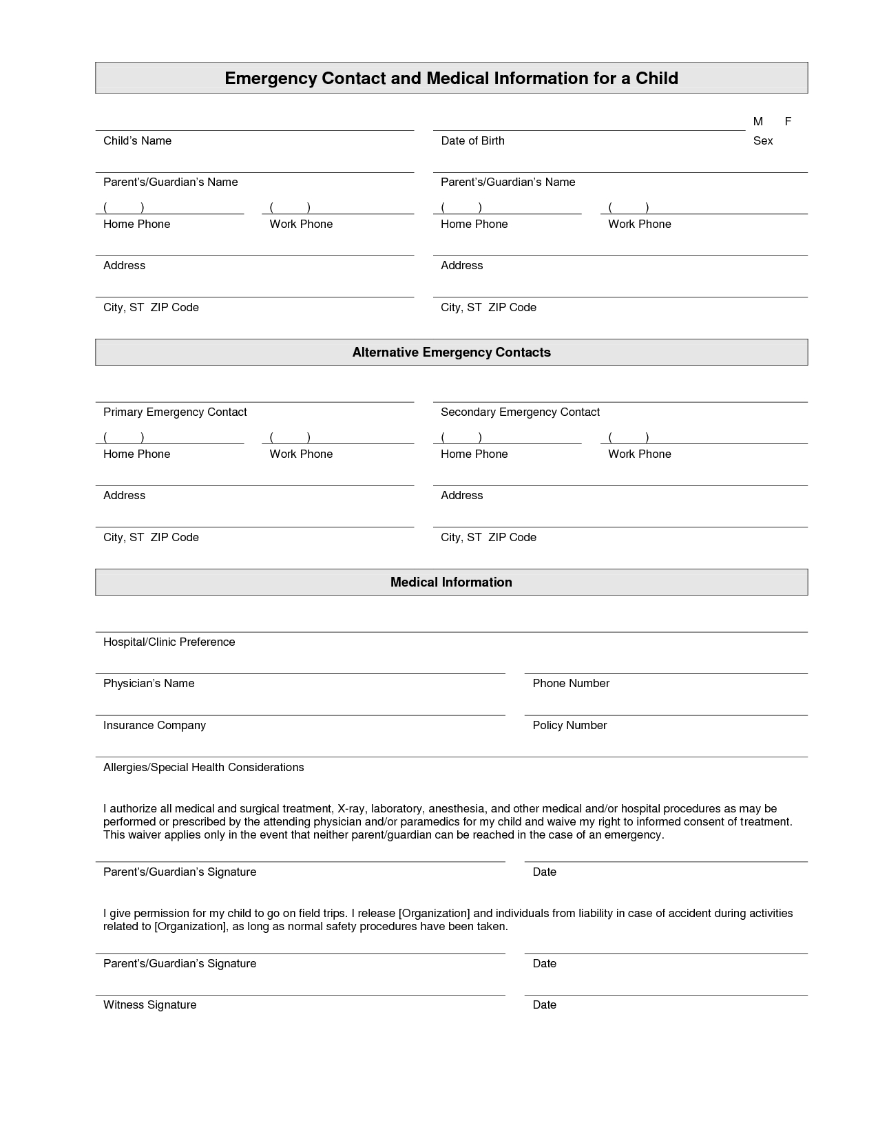 Printable Emergency Contact Form Template | Home Daycare | Emergency - Free Printable Medical Forms Kit