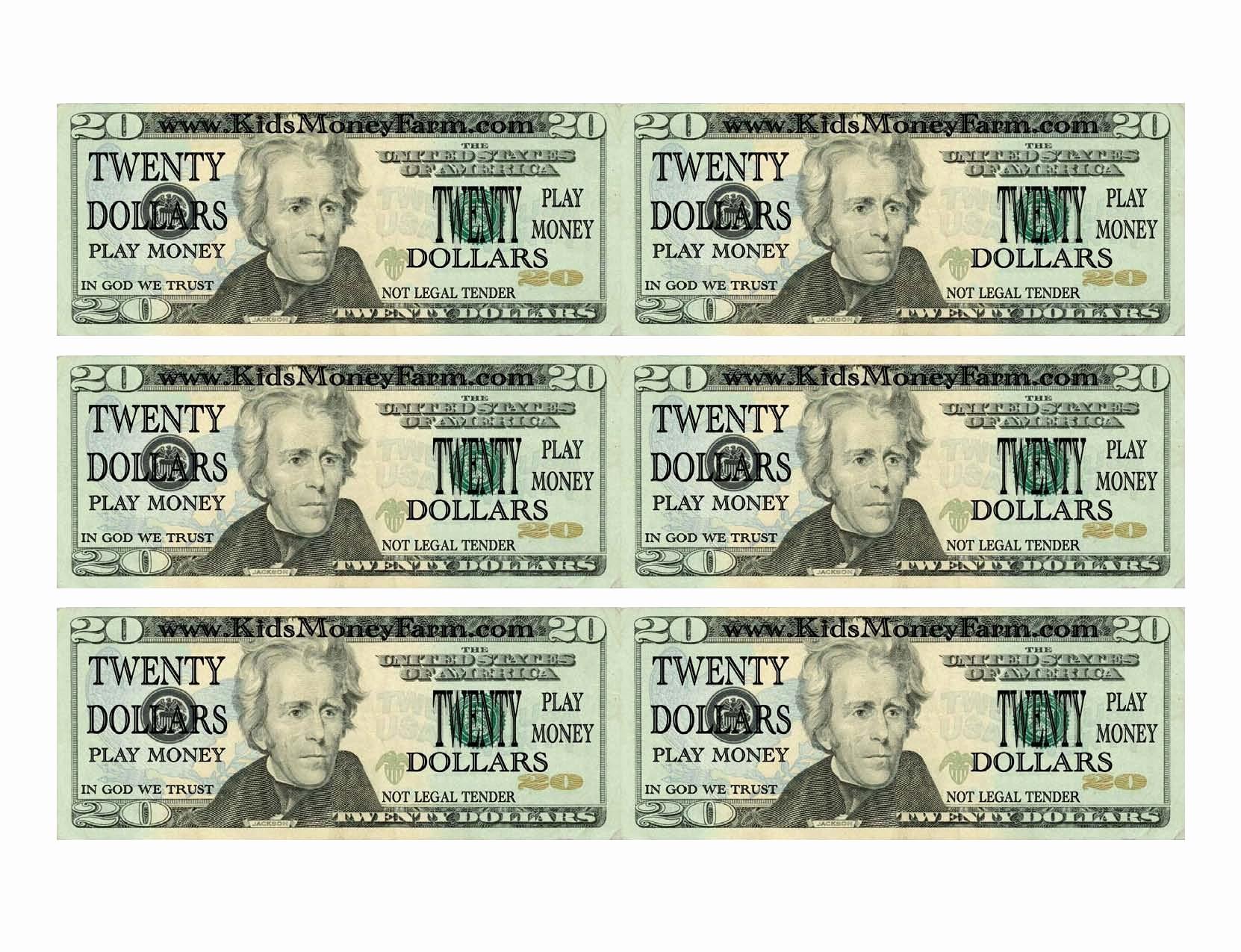 Printable Fake Money Templates Lovely 7 Best Of Printable Play Money - Free Printable Play Dollar Bills