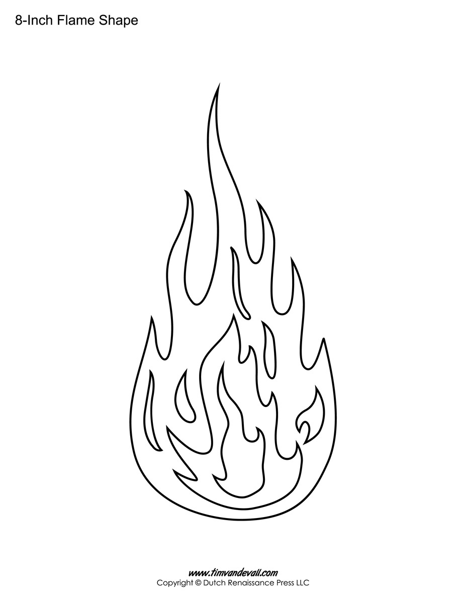 Printable Flame Stickers, Flame Templates, Flame Shapes - Free Printable Flame Template