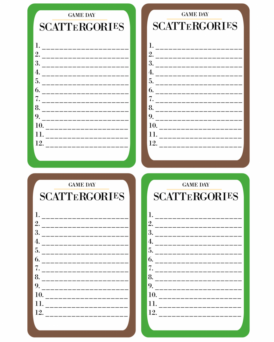 Printable Game Day Scattergories · Pint-Sized Treasures - Scattergories Free Printable Sheets