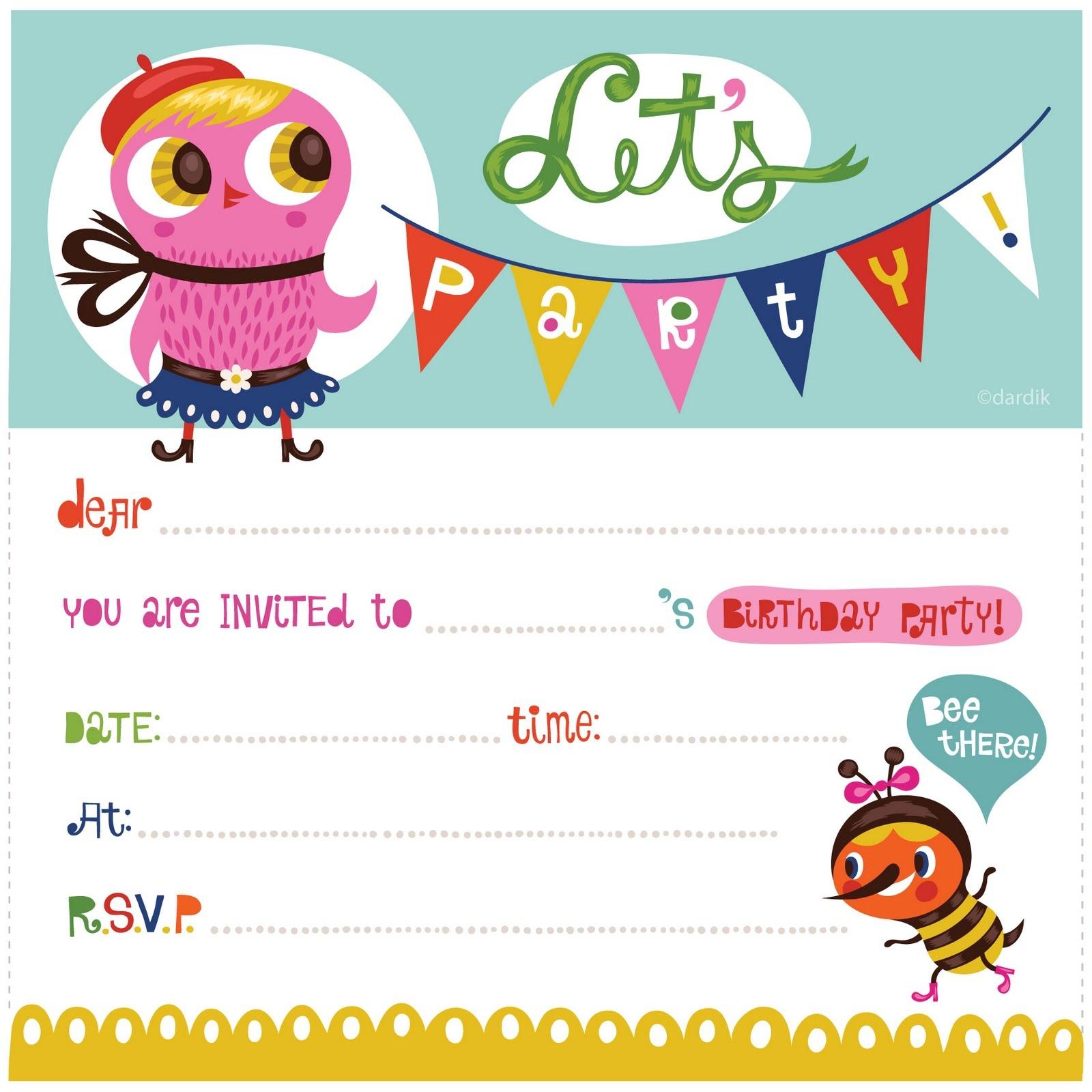 Printable Girl Birthday Invitations - Kaza.psstech.co - Free Printable Birthday Invitations For Kids