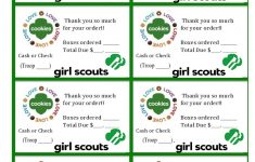 Printable Girl Scouts Cookie Sales Invoice And Thank You Card (8 Per – Free Printable Eagle Scout Thank You Cards