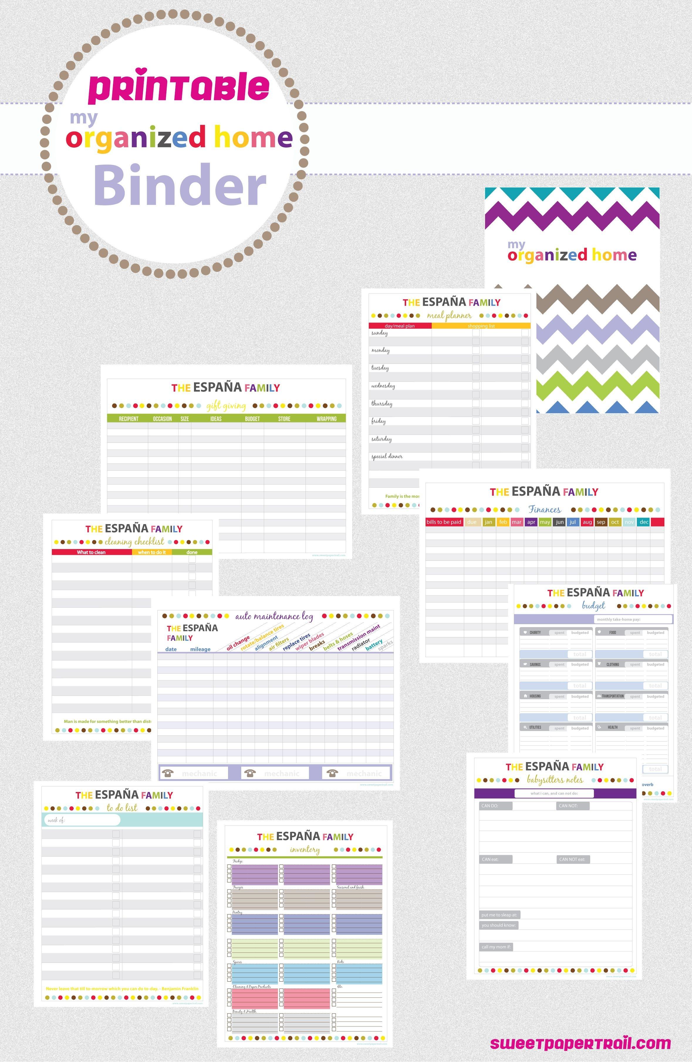 Printable Home Binder #organize #printable | Filofax - Free Printable Household Binder