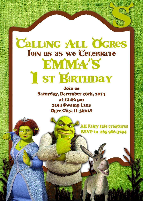 Printable Invitation Shrek Invitation Doney Inviteatomdesign - Free Printable Shrek Birthday Invitations