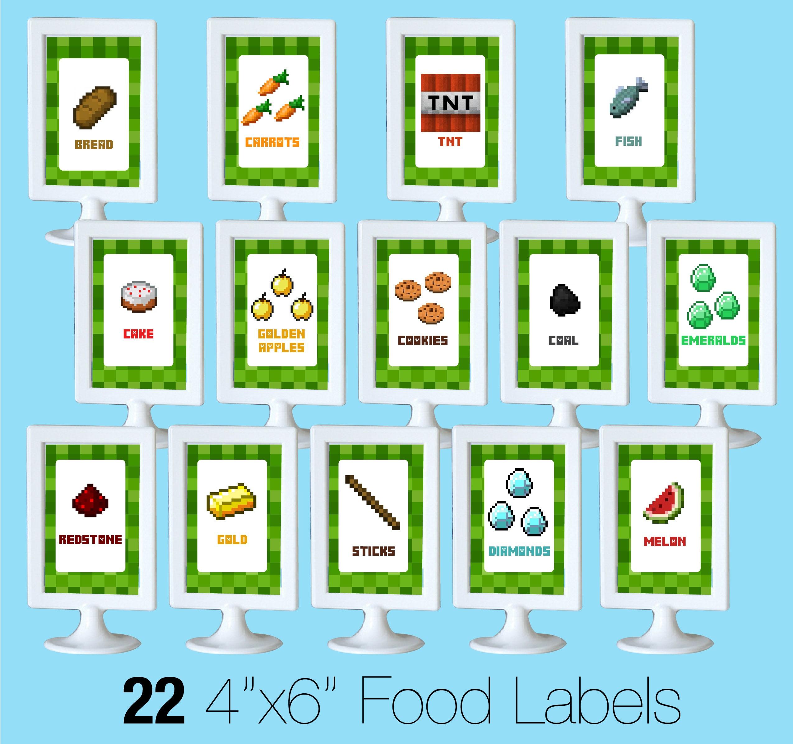 Printable Minecraft Food Labels - Creative Little Parties - Free Printable Tmnt Food Labels