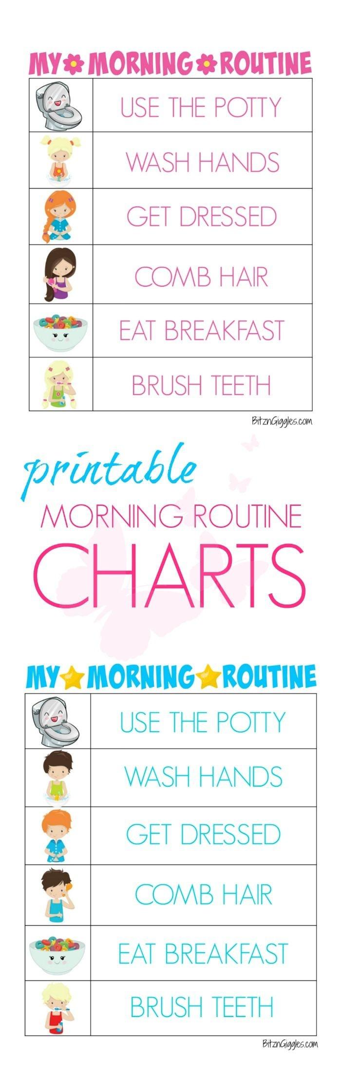 Printable Morning Routine Charts   Bloggers' Fun Family Projects - Free Printable Morning Routine Chart