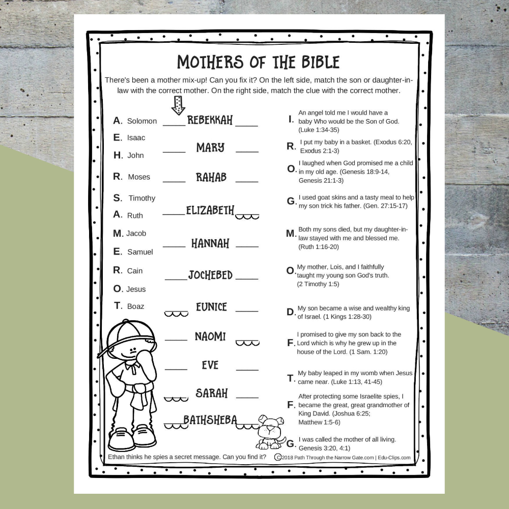 Printable Mothers Of The Bible Worksheet - Path Through The Narrow Gate - Free Printable Bible Study Lessons Genesis