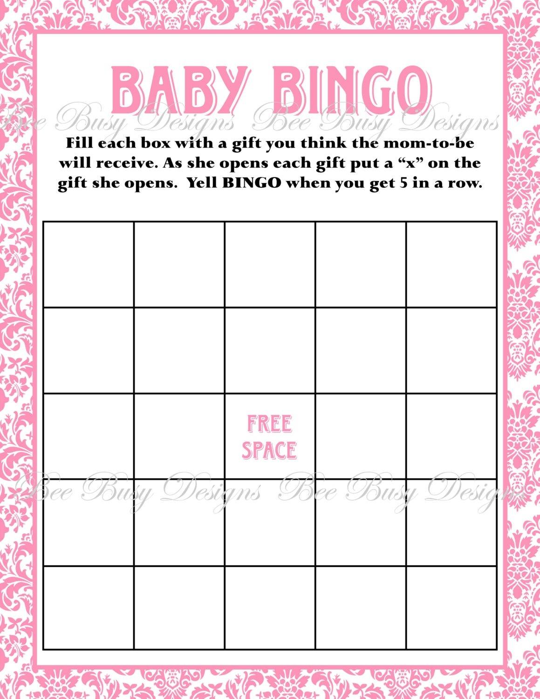 Printable Pink Damask Baby Shower Bingo Game   Bee Busy Designs - Baby Bingo Free Printable Template