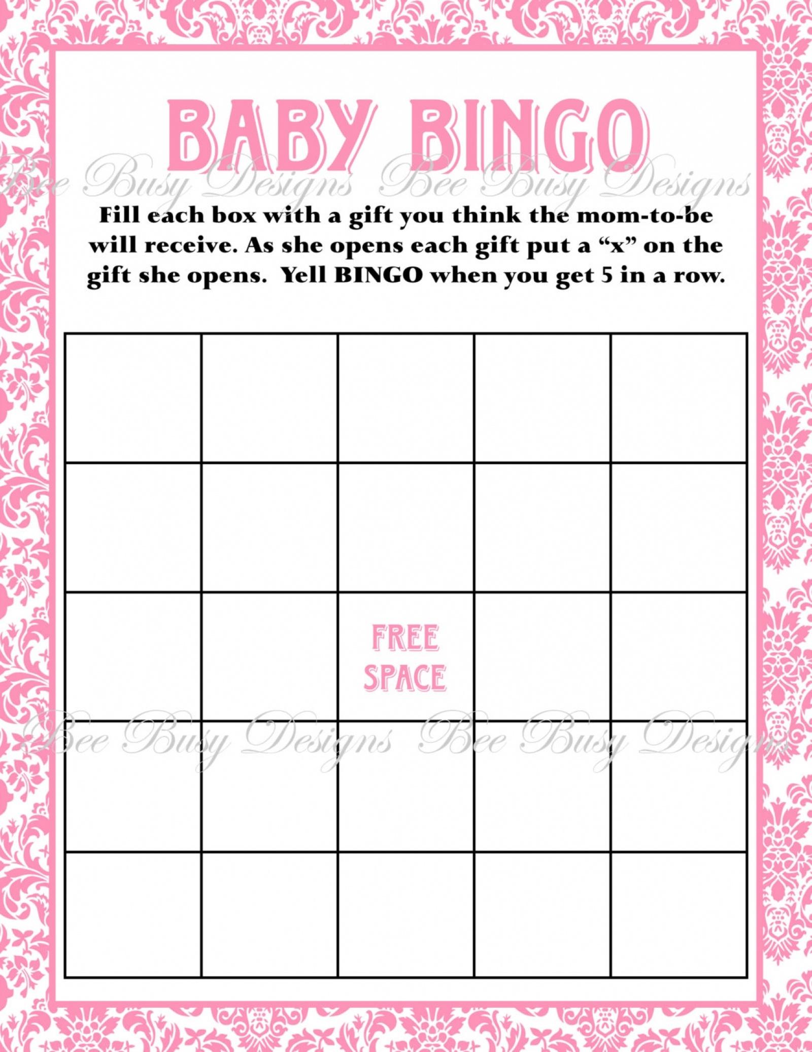 Printable Pink Damask Baby Shower Bingo Game Instant Download | Bee - Baby Bingo Game Free Printable