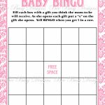 Printable Pink Damask Baby Shower Bingo Game Instant Download | Bee   Free Printable Baby Shower Bingo Cards Pdf