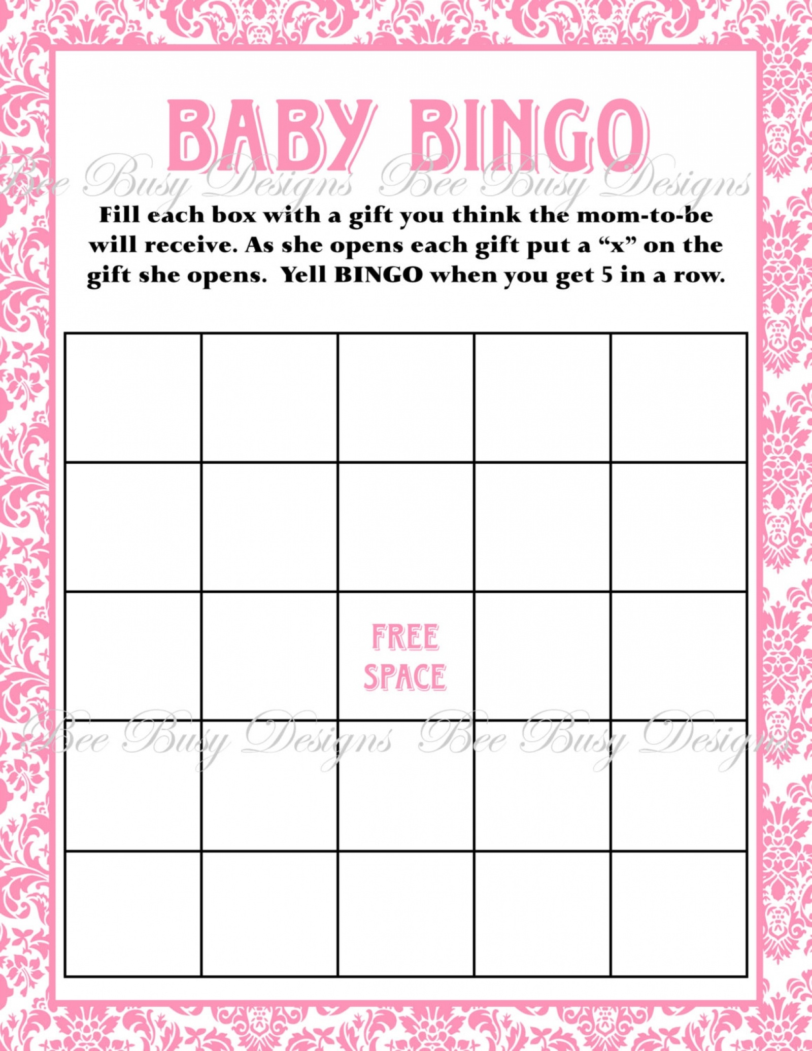 Printable Pink Damask Baby Shower Bingo Game Instant Download | Bee - Free Printable Baby Shower Bingo Cards Pdf
