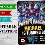 Printable Power Rangers Invitation Pdf   Printable Birthday Party   Free Printable Power Ranger Birthday Invitations