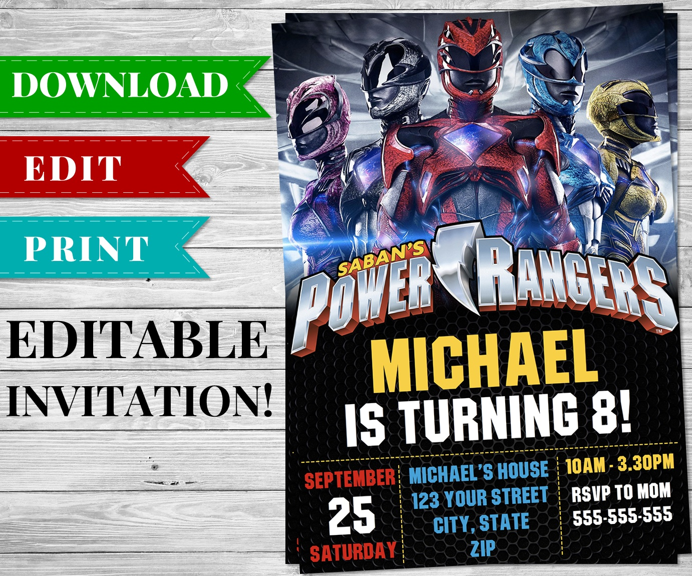 Printable Power Rangers Invitation Pdf - Printable Birthday Party - Free Printable Power Ranger Birthday Invitations