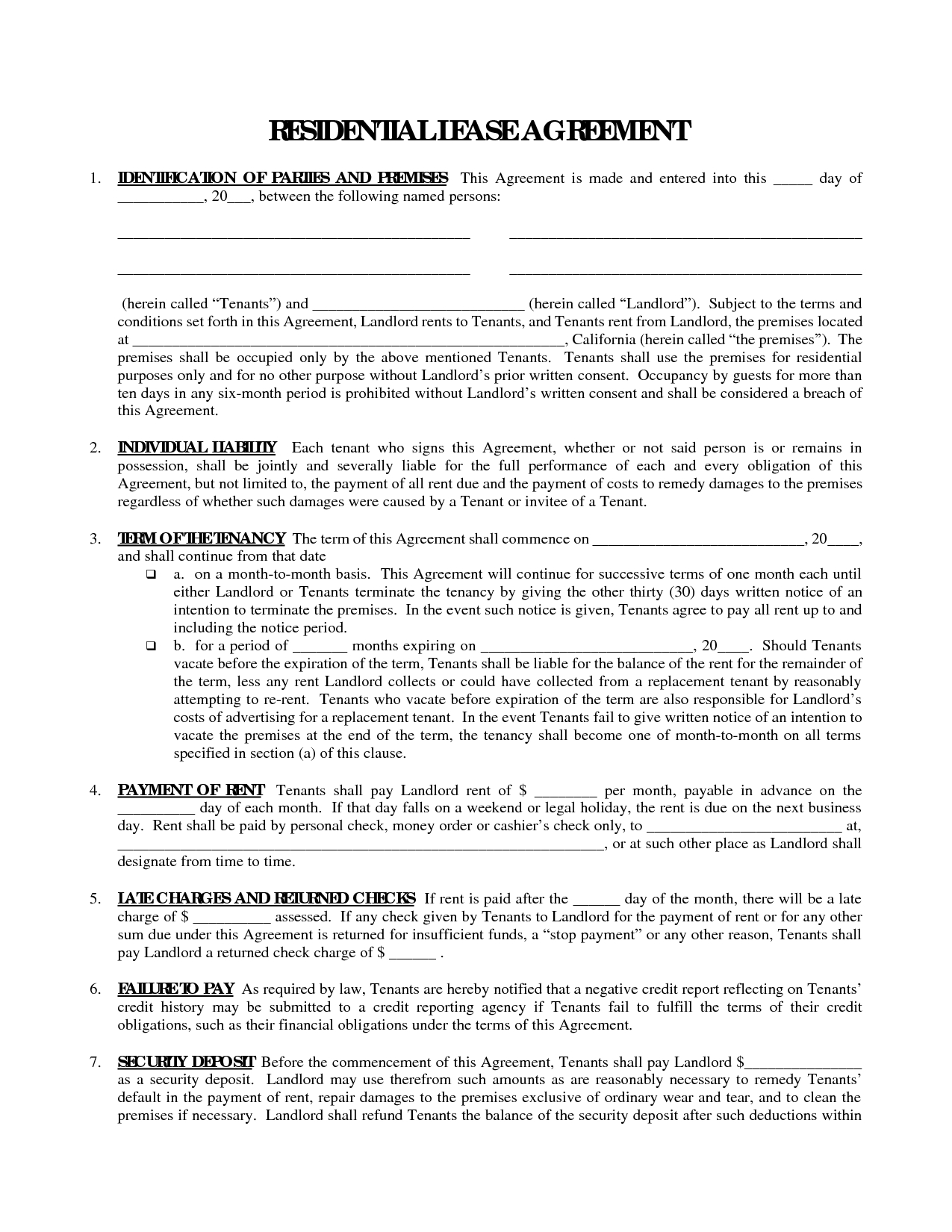 Printable Residential Free House Lease Agreement | Residential Lease - Free Printable Real Estate Contracts