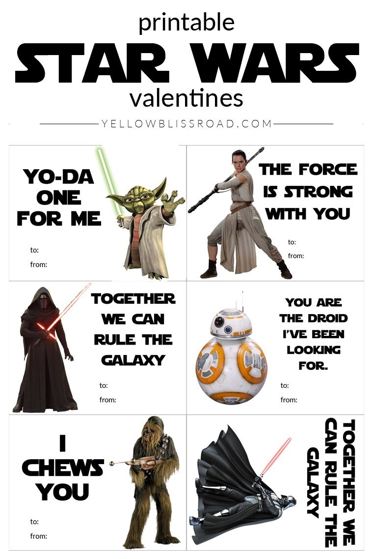Printable Star Wars Valentine's Day Cards | Star Wars | Starwars - Star Wars Printable Cards Free
