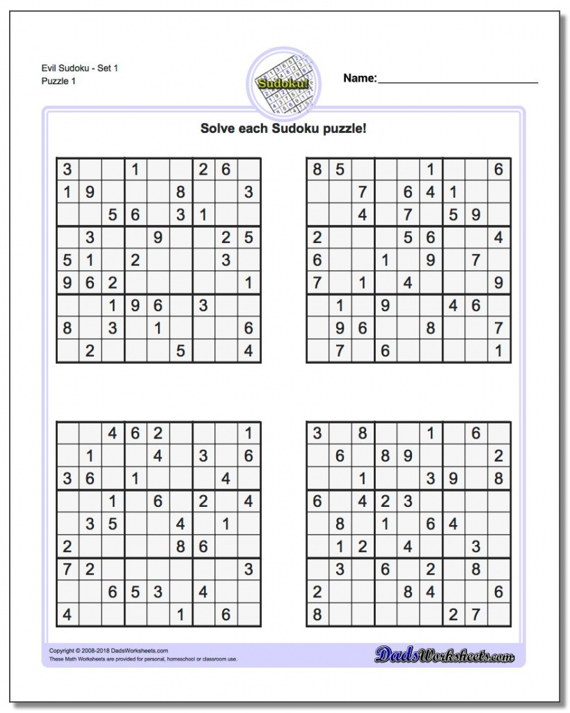 Printable Sudoku Free - Part 50 - Free Printable Sudoku With Answers