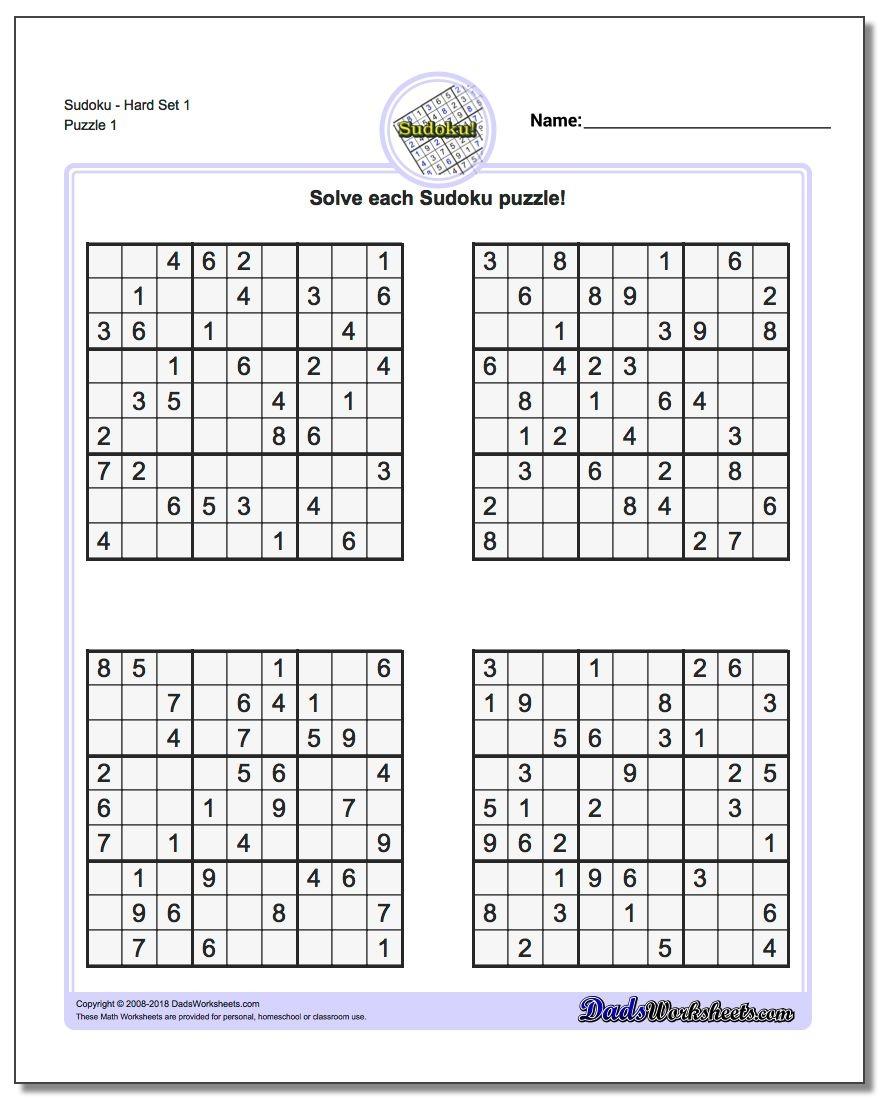 Printable Sudokus   Room Surf - Free Printable Sudoku Pdf