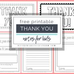 Printable Thank You Cards For Kids   The Kitchen Table Classroom   Free Printable Thank You Notes
