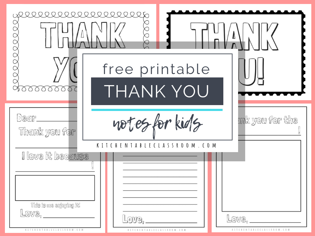 Printable Thank You Cards For Kids - The Kitchen Table Classroom - Free Printable Thank You Notes