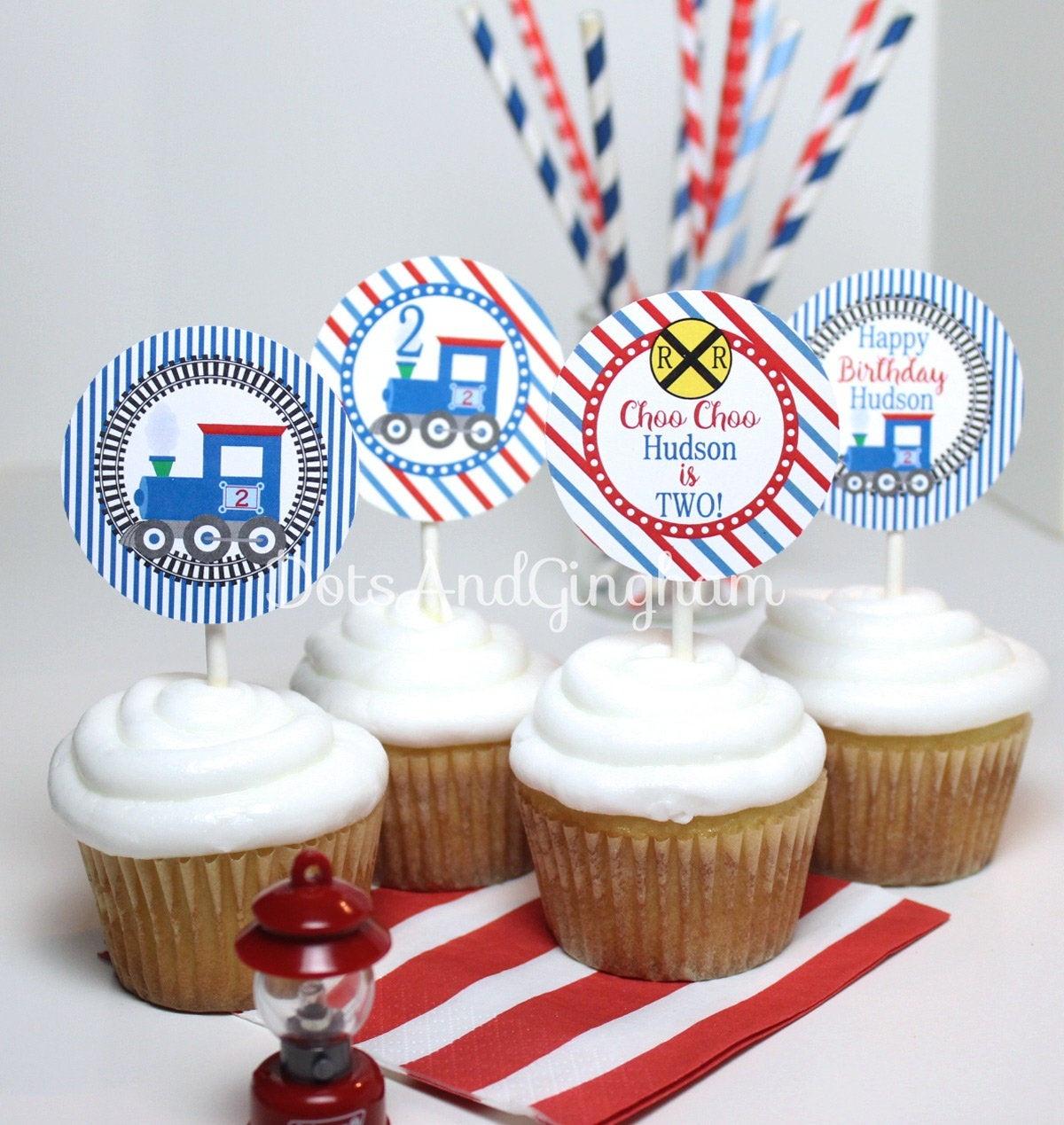 Printable Train Cupcake Topper Train Birthday Party Train | Etsy - Free Printable Train Cupcake Toppers