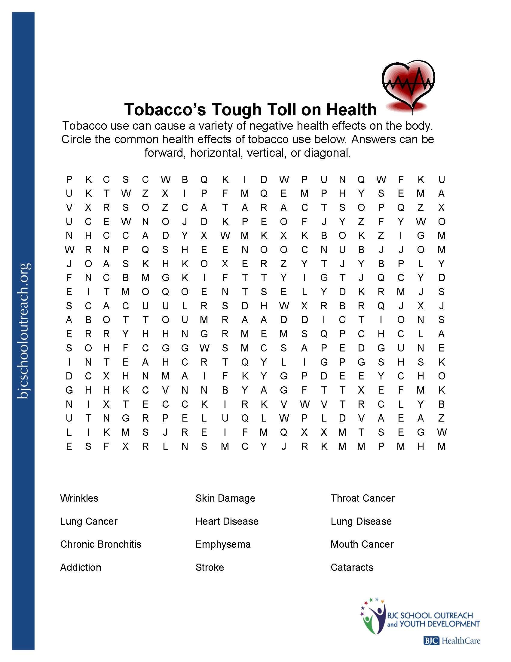 Printable Worksheets - Free Printable Health Worksheets For Middle School