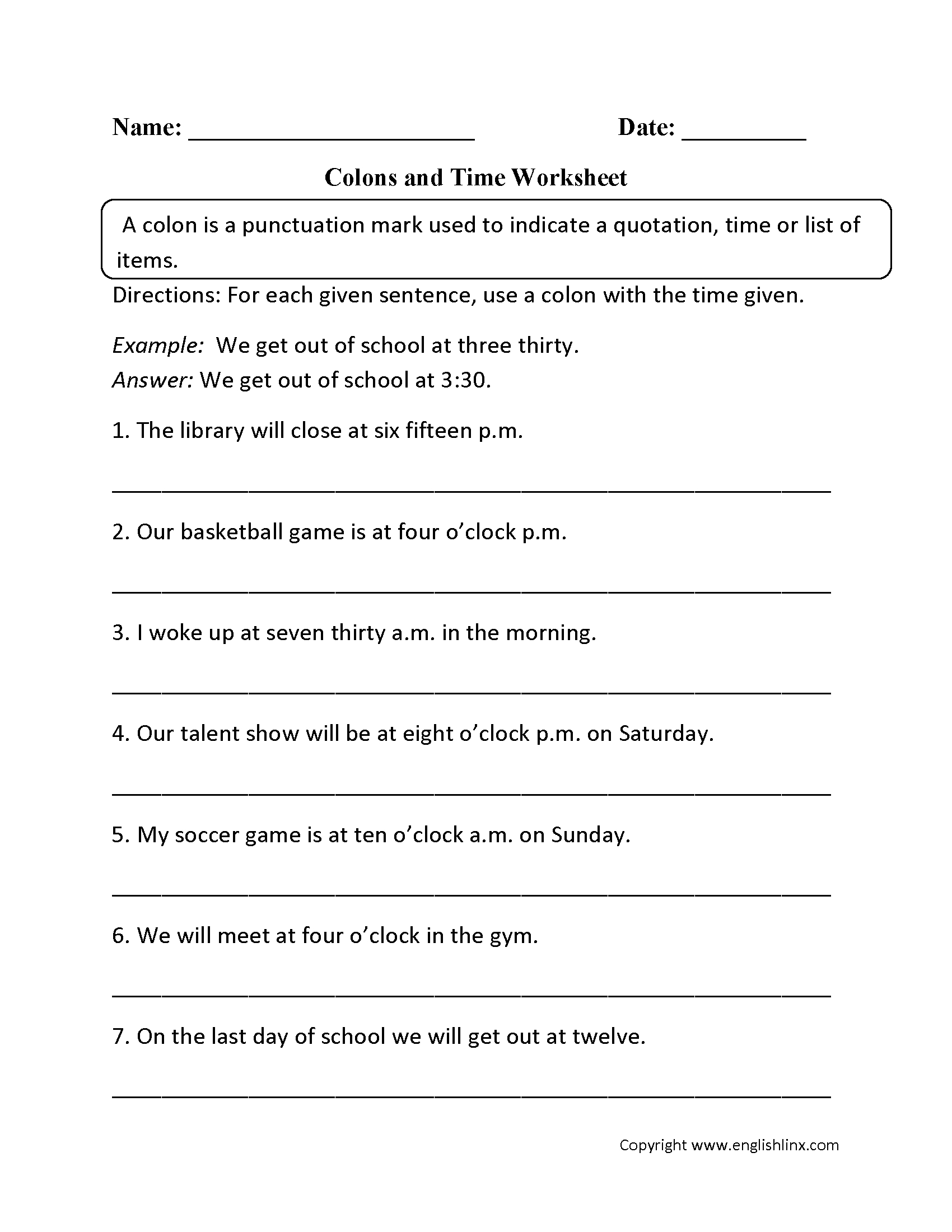 Punctuation Worksheets   Colon Worksheets - Free Printable Third Grade Grammar Worksheets