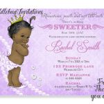 Purple African American Girl Baby Shower Invitation Purple | Etsy   Free Printable Princess Baby Shower Invitations