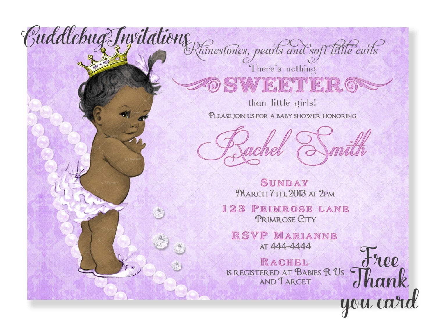 Purple African American Girl Baby Shower Invitation Purple | Etsy - Free Printable Princess Baby Shower Invitations