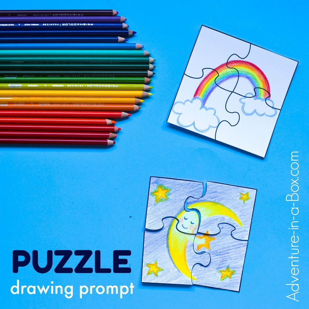 Puzzle Drawing Prompt For Kids With A Free Printable Template - Make Your Own Puzzle Free Printable
