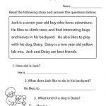 Reading Comprehension Practice Worksheet | Education | 1St Grade   Third Grade Reading Worksheets Free Printable