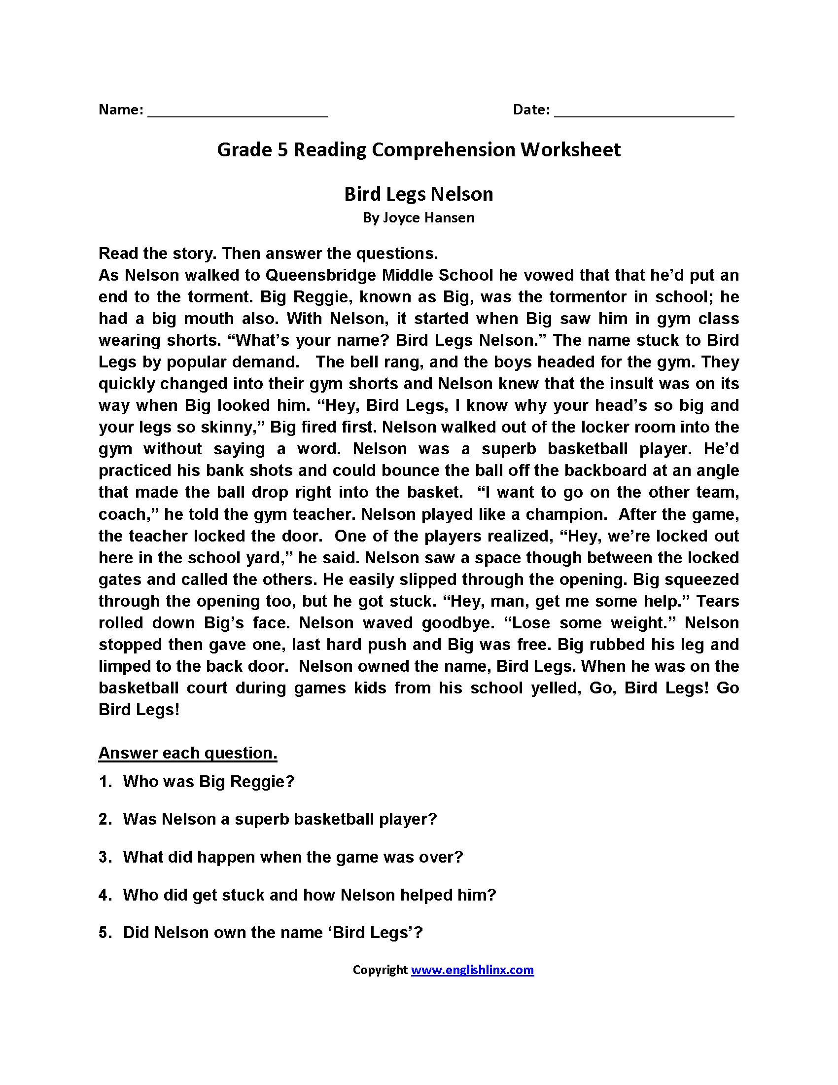 Reading Worksheets | Fifth Grade Reading Worksheets - Free Printable Reading Comprehension Worksheets Grade 5
