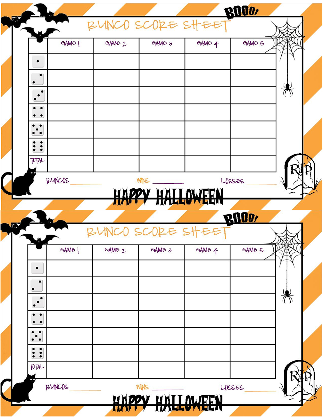 Recipes From Stephanie: Halloween Bunco Sheet - Free Printable Halloween Bunco Score Sheets