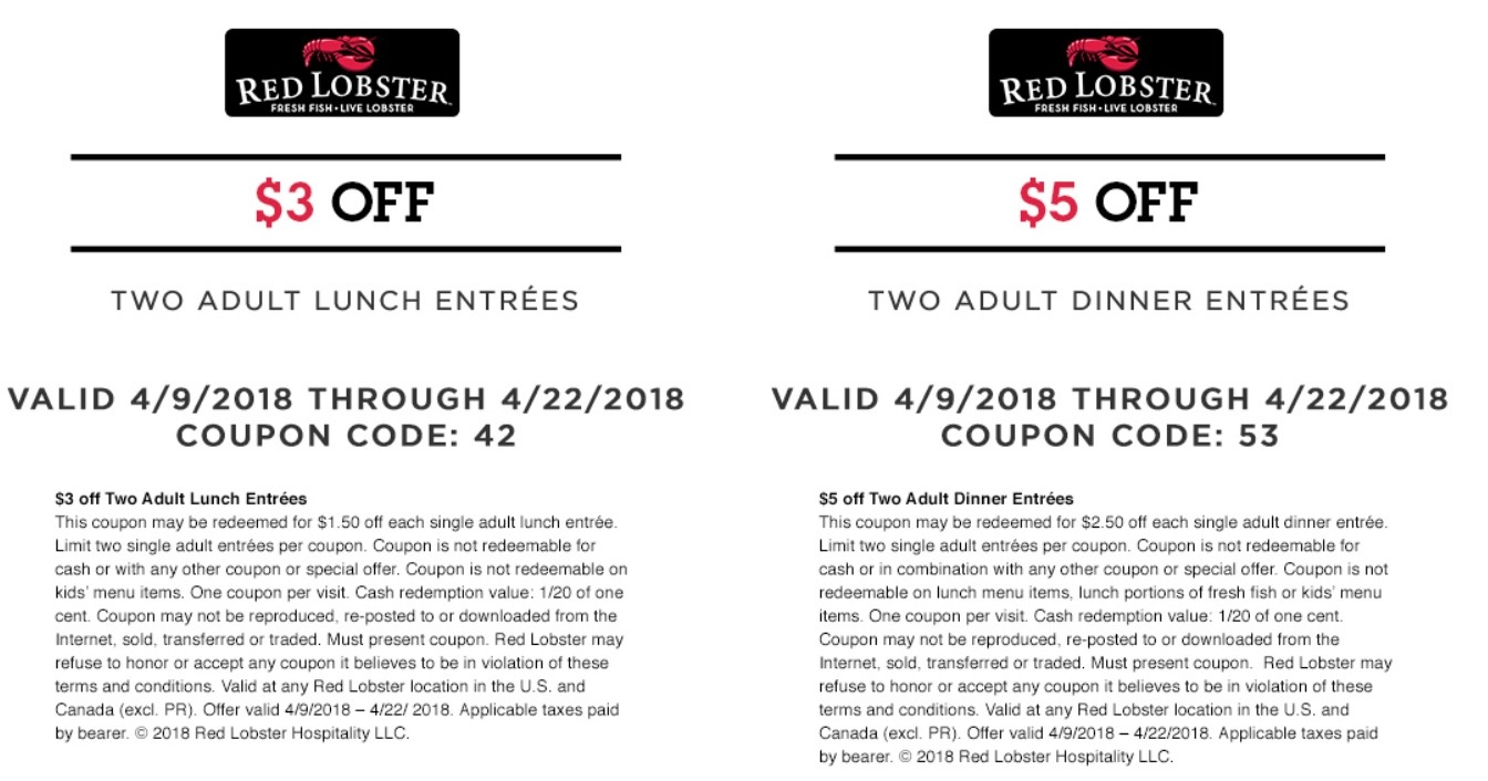 Red Lobster Freebies Coupons Codes - Free Printable Red Lobster Coupons