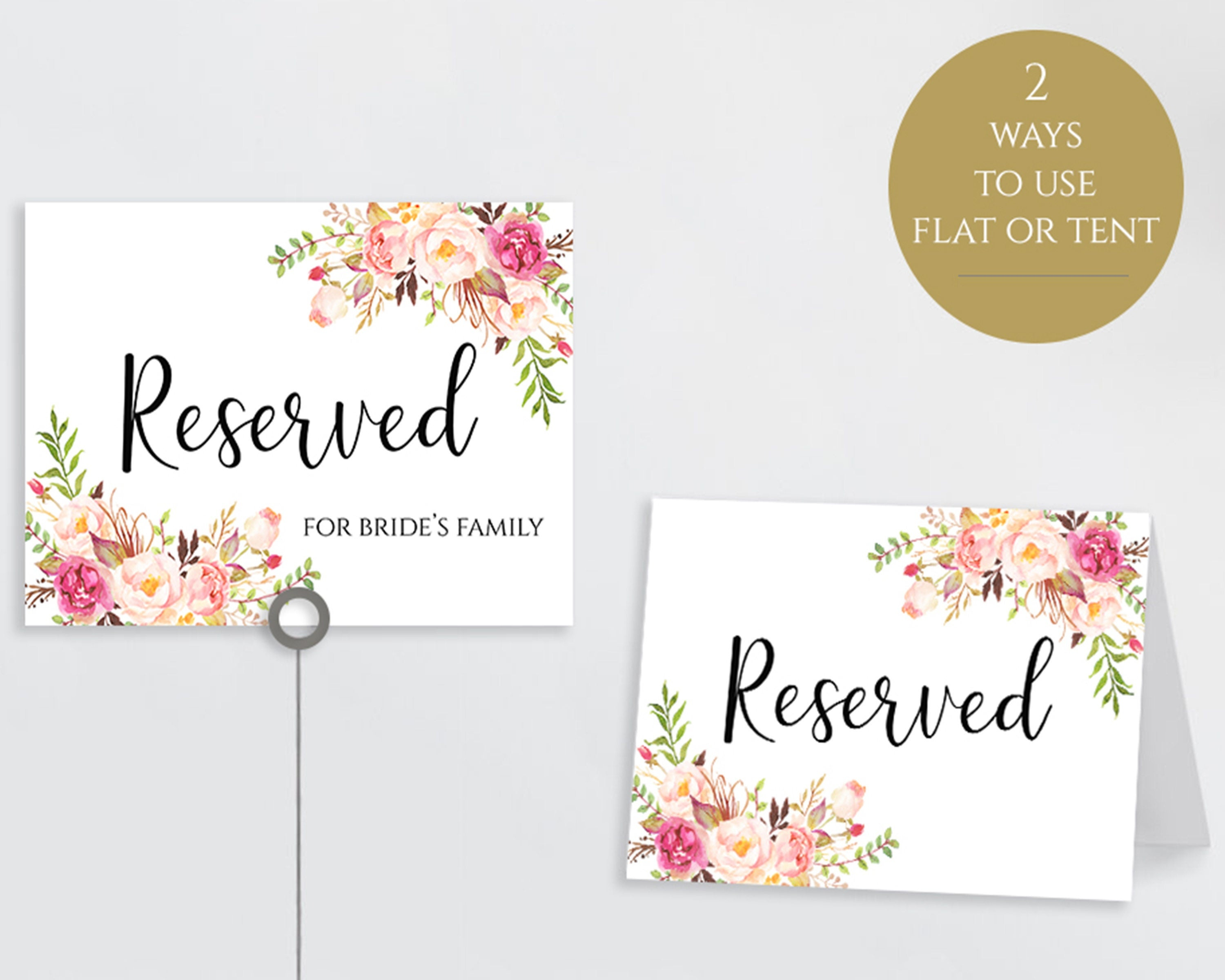 Reserved Printable Reserved Wedding Sign Reserved Table Sign | Etsy - Free Printable Reserved Table Signs